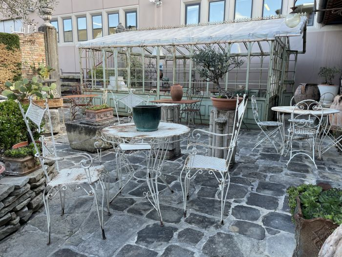 Antique sets and garden tables made of iron and wood