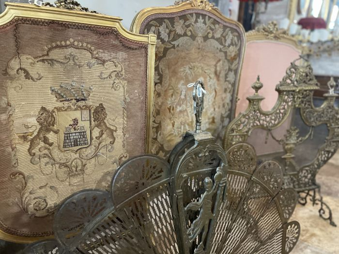Antique firescreens for fireplaces in wood and metal