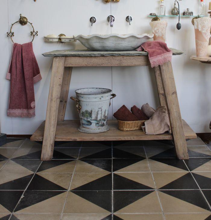 Antique Italian cement tiles - beautiful checkerboard flooring
